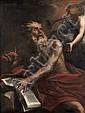 Ecole vénitienne du XVIIe siècle Entourage de Antonio Bellucci Saint Jérôme entendant les trompettes du Jugement dernier Huile sur t...