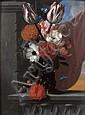 Michel Bouillon Actif en France entre 1638 et 1668 Oeillets, tulipes et pensées dans un vase posé sur un entablement Panneau de noye...