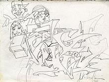 T-KID 170 (Julius Cavero dit) (né en 1961) SANS TITRE, SKETCH, 1985 Dessin au crayon et feutre noir sur papier