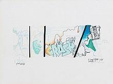 CRASH (John Crash Matos dit) (né en 1961) STUDY N°1, 1984 Marqueurs , crayons de couleur et encre sur papier