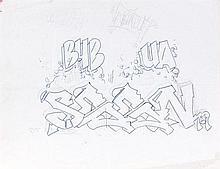 SEEN (Richard Mirando dit) (né en 1961) BUB UA, 1979 Stylo et crayon sur papier