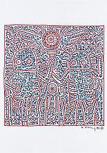Keith HARING (1958-1990) SANS TITRE, 1984 Feutres de couleurs sur papier