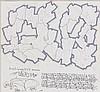 QUIK (Linwood A. Felton dit) (né en 1958) STUDY FOR LETTER 'Q' 'U' 'I' MUTATING Marqueur, tampon et stylo sur papier