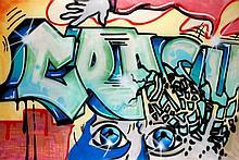 CRASH (John Crash Matos dit) (né en 1961) THE FIRST PUZZLE, 1984 Acrylique et peinture aérosol sur toile