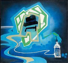 DONDI WHITE (Donald J. White dit (1961 - 1998) OPERATION INPUT, 1982 Peinture aérosol sur toile