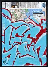 SEEN (Richard Mirando dit) (né en 1961) SANS TITRE, 2007 Peinture aérosol et marqueur sur plan de métro de New York (MTA)
