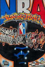 ¤ James TOP (JEE2)  NBA BASKETBALL, 2006 Peinture aérosol, acrylique, marqueurs et collages sur toile