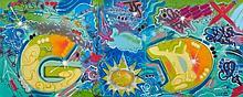 TOXIC (né en 1965) G.O AND D., 2009 Peinture aérosol sur toile (triptyque)