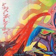 KOOL KOOR (né en 1963) PYRO-VILLE, 2009 Acrylique sur 4 toiles assemblées