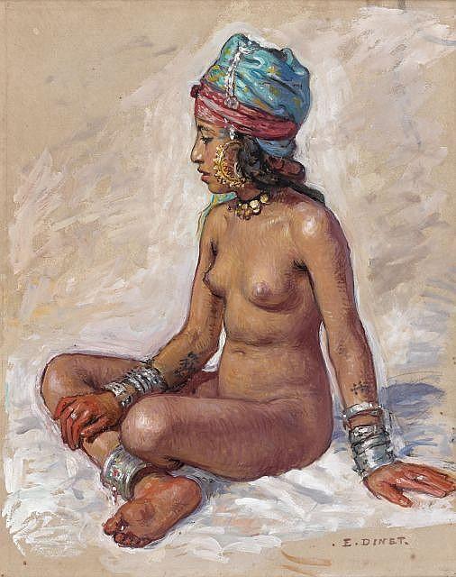 Etienne DINET (Paris, 1861 - Paris, 1929) Baigneuse dans la palmeraie