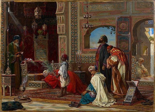 Jean-Baptiste HUYSMANS (Anvers, 1826 - Hove, 1906) Recueillement au tombeau des ancêtres en Egypte, 1898-1899