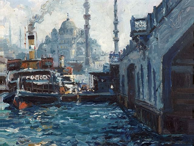 Ibrahim SAFI (Nakhichevan,1898 - Istanbul,1983) Vue d'Istanbul du pont de Galata