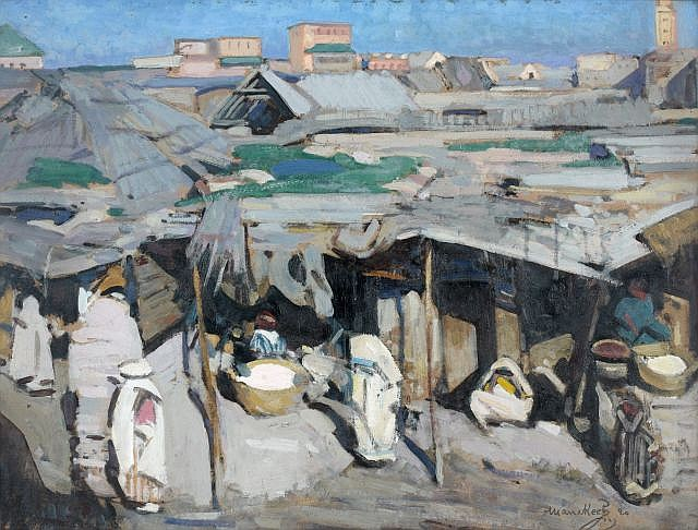 Jacques MAJORELLE (Nancy, 1886 - Paris, 1962) Souk à Marrakech, 1920