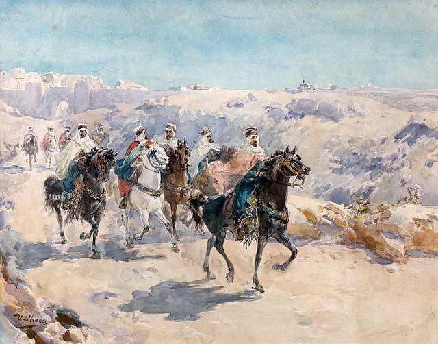 Ulpiano CHECA Y SANZ (Colemar de Oreja, 1860 - Dax, 1916) Cavaliers à la sortie des remparts de Fez