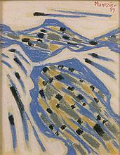Alfred MANESSIER (1911 - 1993) LE TORRENT II - 1959 Pastel sur papier