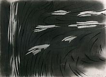 Olivier DEBRE (1920 - 1999) SANS TITRE - 1976 Fusain et gommage sur papier