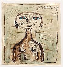 CORNEILLE (1922 - 2010) SANS TITRE - 1947 Encre et aquarelle sur papier