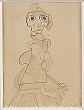 Gaston CHAISSAC (1910 - 1964) PERSONNAGE - Circa 1944 Encre de Chine sur papier