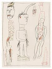 James BROWN (Né en 1951) WOODEN FIGURES - 1983 Crayons de couleur et crayon sur carton