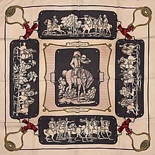 Beau et rare carré en soie imprimée, titré