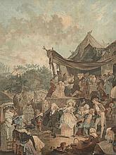 D'après Philibert-Louis Debucourt Paris, 1755 - 1832 Noces au château et Le menuet de la mariée Deux gravures en couleurs