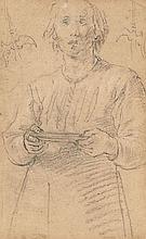 Attribué à Matteo Rosselli Florence, 1578 - 1650 Etude d'homme tenant un plateau Crayon noir
