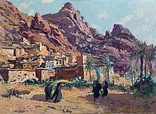 Henri PONTOY 1888 - 1968 LE RETOUR À LA CASBAH Huile sur panneau