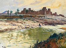 Henri PONTOY 1888 - 1968 CASBAH AU BORD DE L'OUED Huile sur toile