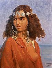 Adam STYKA 1890 - 1959 JEUNE MAROCAINE Huile sur carton