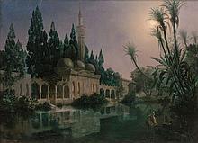 Eugène FLANDIN 1809 - 1876 LA MOSQUÉE D'URFA, 1849 Huile sur toile