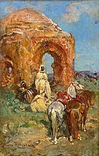 Henri Émilien ROUSSEAU 1875 - 1933 LE REPOS PRÈS DES RUINES Huile sur panneau