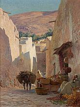 Eugène GIRARDET 1853 - 1907 RUE ANIMÉE À BOU SAADA Huile sur toile