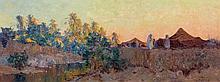 Eugène DESHAYES 1862 - 1939 CAMPEMENT Huile sur panneau