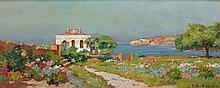 Eugène DESHAYES 1862 - 1939 BORD DE MER Huile sur panneau