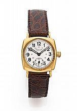 ROLEX OYSTER REGENT, vers 1950 Montre bracelet coussin en métal plaqué or. Fond acier vissé. Cadran argent avec petite trotteuse...