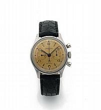 LEMANIA / UTI Vers 1950 Chronographe bracelet en acier. Boîtier rond, fond vissé. Cadran crème avec 2 compteurs. Mouvement mécan...