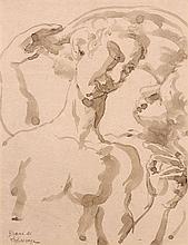 Roger de LA FRESNAYE 1885 - 1925 LA DANSE, GRASSE - 1921 Lavis d'encre sepia sur papier