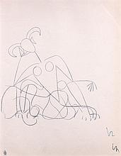 Jean COCTEAU 1889 - 1963 ETUDE POUR LA SPHINGE BLEUE - Circa 1960 Crayon de couleur bleu sur papier