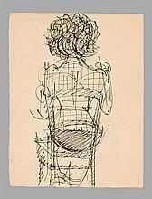 Marcel GROMAIRE 1892 - 1971 ENSEMBLE DE 4 OEUVRES SUR PAPIER FEMME ASSISE DE DOS - ETUDES DE NUS (x3)
