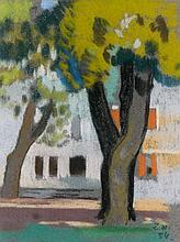 Julienne Pauline Isidorine WALTER dite ZOUM 1902 - 1974 ARBRES SUR LA PLACE - 1954 Pastel sur papier