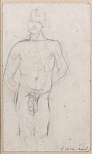 Constantin BRANCUSI 1876 - 1957 ETUDE DE NU Crayon sur papier