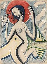 Marie VASSILIEFF 1884 - 1957 NU A L'OISEAU - 1952 Pastel et stylo sur papier