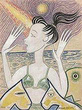 Marie VASSILIEFF 1884 - 1957 FEMME EN BORD DE MER - 1952 Gouache, crayon et crayons de couleur sur papier