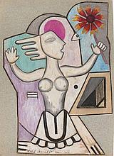 Marie VASSILIEFF 1884 - 1957 FEMME A LA FLEUR - 1952 Gouache, encre et pastel sur papier découpé
