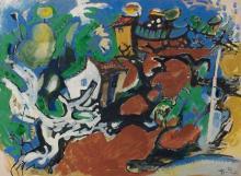 Edouard PIGNON 1905 - 1993 LA FERME DE JO - 1957 Gouache sur papier