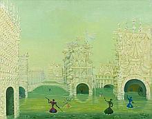 Lucien COUTAUD 1904 - 1977 TROISIEME VUE DE VENISE, AUX NEUF GONDOLES - 1957 Huile sur toile