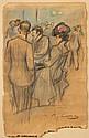Ramon CASAS Y CARBO (Barcelone, 1866- Barcelone, 1932) AU CAFE Dessin au crayon et à l'aquarelle sur papier