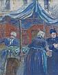 Emile-Othon FRIESZ (Le Havre, 1879- Paris,1949) SCENE DE MARCHE A FALAISE, 1904-1910 Gouache sur papier