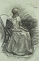 Henri LEBASQUE (Champigné, 1865 -Le Cannet,1937) FEMME PENSIVE Fusain, craie blanche et rehauts de craie de couleurs