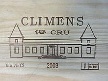6 bouteilles CHÂTEAU CLIMENS 2003 1er Cru Barsac Caisse bois d'origine